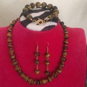 Genuine tiger's eye jewelry set